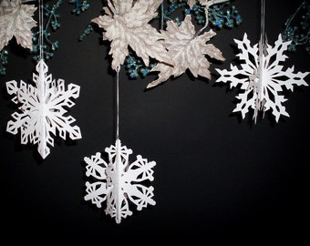 Scherenschnitte 3-D Paper Snowflake Hanging Ornaments Set of 3 Different Patterns for Paper Cutting (PDF Digital Download)