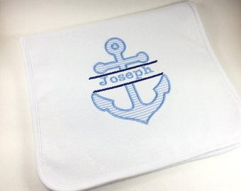 Personalized Anchor Burp Cloth, Monogrammed Anchor Burp Cloth, Embroidered Anchor Burp Cloth, Personalized Nautical Burp Cloth, Nautical Boy
