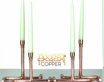 Pure Copper Candlestick Holders, (4 piece set)