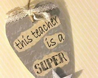 Teacher Gift, Star Teacher, Best Teacher, Hanging Heart