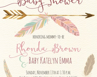 Tribal Baby Shower Invitation with Feathers and Arrows Digital Printable Design