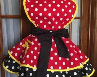 Minnie Mouse Inspired Apron - Minnie Mouse Apron - Polka Dot Apron - 1950s Retro Pin Up Apron