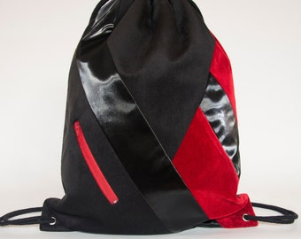 Black Vegan Suede Drawstring Backpack Minimal Geometric Coloured Red Cotton Velvet-QUED-Unisex Rucksack
