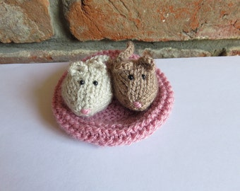 Soft Brown and Taupe Hand Knitted Mice and Pink Basket