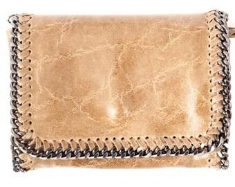 Leather Chain Handbags- Light Tan