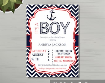 Nautical Baby Shower Invitation Printed or Digital, Cool Boy Shower Card Template, Newborn baby invitation template. Personalised