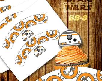 Star Wars Cupcake Wrapper, BB-8 Cupcake Wrappers, BB-8 Cupcake topper, The Force Awakens, Star Wars, Digital Cupcake Toppers, Printable bb-8