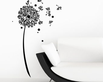 Dandelion Clock Flower Wall Sticker - Floral Seed Art Vinyl Decal Transfer - by Rubybloom Designs