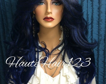Ombre Midnight Blue Human Hair Blend Realistic Lace Front Wig