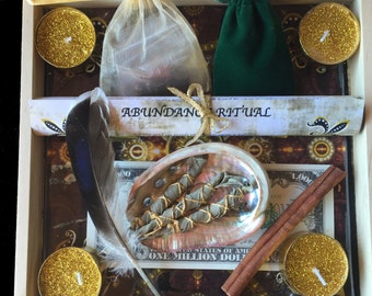 Abundance Ritual Box, Wealth Spell Box, Prosperity Spell, Wealth Crystal Grid, Manifestation Ritual Box, Law of Attraction, Attract Wealth