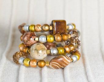 Jewelry, handmade bracelet, memory wire bracelet, wrap bracelet, beaded bracelet, spiral, coil, wrap