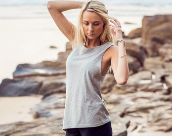 Grey luxuy cotton loose tank with high neckline low armholes, asymmetrical hem and relaxed fit
