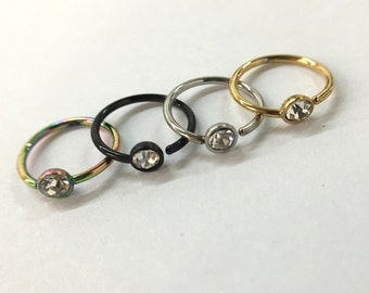 Four 20G Jeweled Nose Ring Hoops - Rainbow, Black, Silver, Goldtone - Nose Ring PIercing
