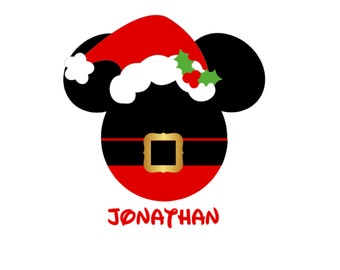 Personalized Santa Claus Mickey Mouse Minnie Mouse Santa Hat Mrs. Claus Matching Family Christmas Disney Iron On Decal Vinyl 4 Shirt 178
