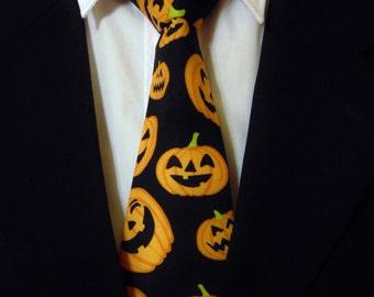 Halloween Necktie, Halloween Tie, Pumpkin Necktie, Pumpkin Tie, Mens Necktie, Mens Tie, Black Necktie, Black Tie, Orange Necktie, Orange Tie