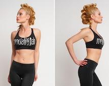Workout Womens Top, Bandeau Bra, Gym Wear, Womens Sports Bra, Plus Size Workout Top, Crop Top, Black White Top, Exercise Bra, Workout Top