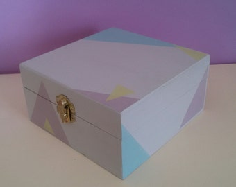 Wooden box, geometric decoration, soft pastels. Pastel decor, triangle decorations.  Handpainted. OOAK