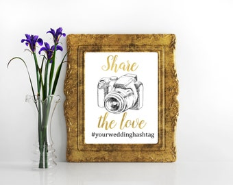 Hashtag wedding sign Instagram wedding sign Wedding hashtag Share the love sign If you Instagram Hashtag sign Social media sign Hashtag