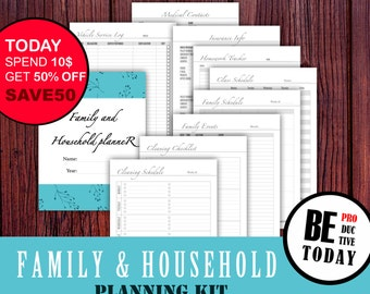Family and Household Planner Bundle, Mom Printable Planner, House Management, A5, A4, Letter, Household Binder, Housekeeping, Cleaning Plan