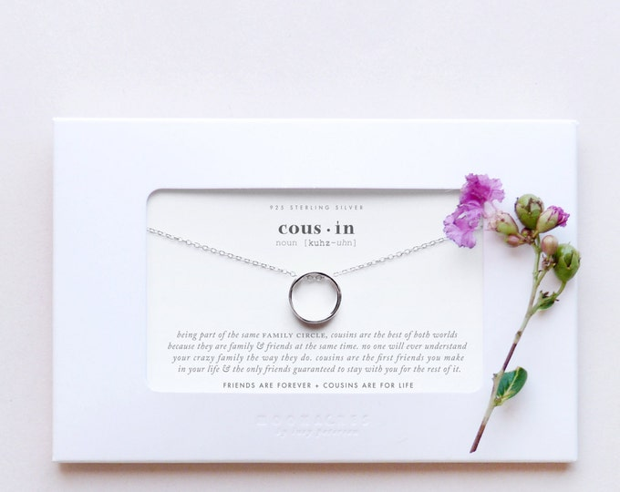 Cousin | Sterling Silver Karma Circle Ring Necklace Poem Quote Message Card Jewelry Family Cousin Bridesmaid Wedding Birthday Thank You Gift