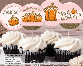 "INSTANT DOWNLOAD - EDITABLE Pink and Gold Little Pumpkin Birthday 2"" Cupcake toppers - Sweet Little Pumpkin Party decorations"