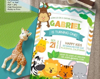 Safari Birthday Party invitations Jungle animals DIY printable Cute Safari birthday invitations