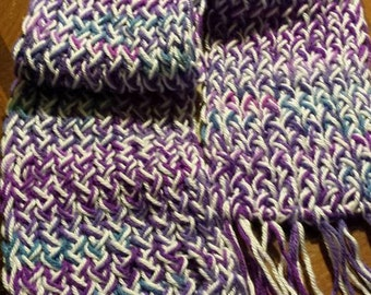Purple, Blue and White Scarf