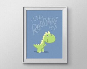 Baby T-Rex Dinosaur Nursery Art. Blue-Themed, Hand Rendered Digital Download.