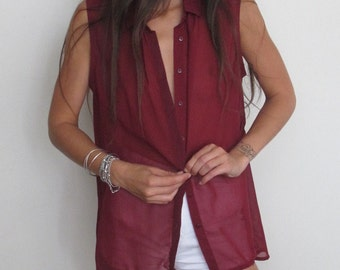 Vintage Burgundy Red Sleeveless Chiffon Blouse