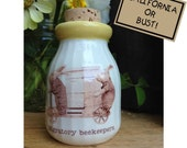 Ceramic Milk Bottle, vintage rabbit illustration, Rabbit Milk Bottle, Beekeeper Milk Bottle, Ceramic Honey Bottle, Ceramic Cork Jar