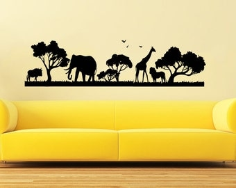 Safari Wall Decal Etsy - Wall decals animalsafrican savannah wall sticker decoration great trees with