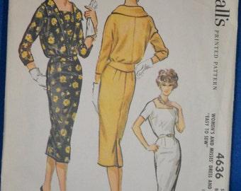 Vintage Mad Men Wiggle Dress & Jacket Pattern McCall's 4636 SKU P0065