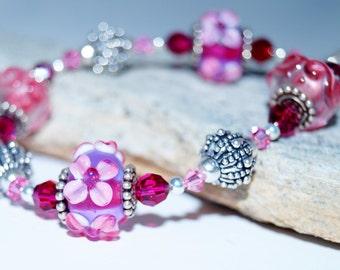 Lampwork, Silver and Swarovski Crystal Beaded Bracelet