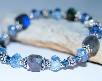 Labradorite Cube, Blue Quartz, Swarovski Crystal and Sterlng Silver Beaded Bracelet