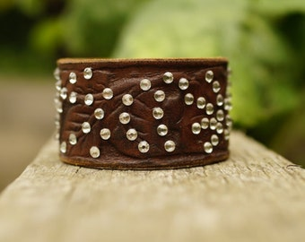 Upcycled Thick Patterned Tan Leather Cuff with Swarovski Crystals
