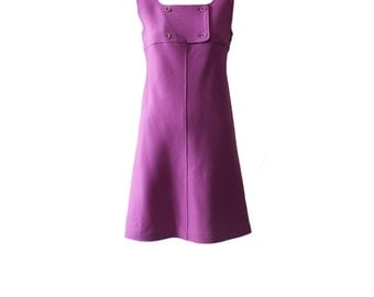 Vintage Courrèges Space Age Signature Purple Jumper Dress 1970s