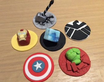 Edible Fondant Marvel The Avengers Cupcake Toppers