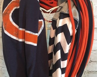 Chicago Bears scarf; Upcycled t-shirt scarf; infinity scarf; team scarf