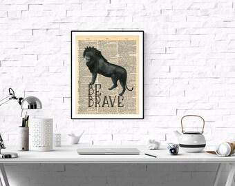Be Brave Lion Dictionary Page Art Print,Vintage Dictionary Page Art,Vintage Art Print ,Printable Boys Room, Kids Room Printable,Leo Sign Art