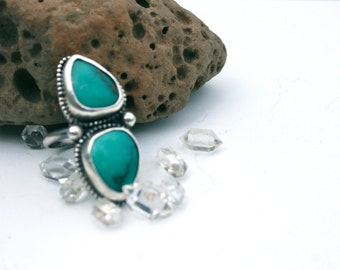Double Stone Turquoise Statement Ring