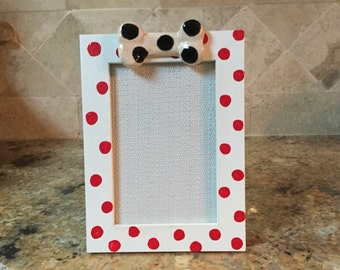 Red and white polka dot dog bone frame