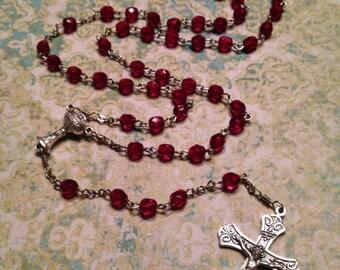6mm Garnet Preciosa Glass Handmade Rosary