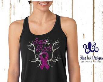 Save The Rack Breast Cancer Shirt, Save The Rack Tank, Save the Rack, Save A Rack, Breast Cancer Tshirt,Breast Cancer Tank, Rhinestone-STRBF