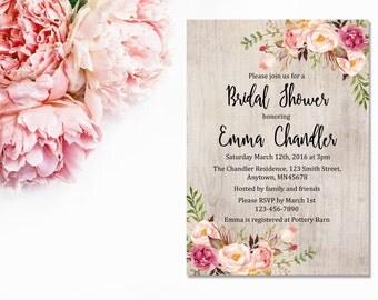 Boho Floral Bridal Shower Invitation, Printable Floral Boho Bridal Shower Invite, Rustic Boho Bridal Shower Invite, Download, 110-A