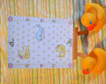 Bathtime - Original Artwork - Pen and Ink - Color Pencils - Whimsical - Ducks - Whale - Hearts - Sailboats - Children's Illustration