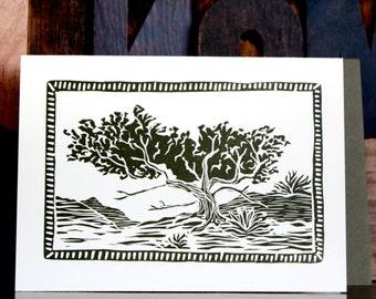 Pinyon Pine Tree Letterpress Greeting Card