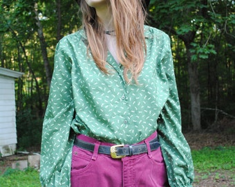 Vintage 70's Lady Manhattan Deer Print Blouse Size Medium