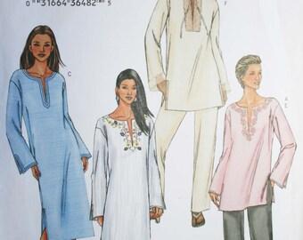 Sewing pattern womens tunic dress kaftan pants Butterick 3840 UNCUT Size 6-14 (Bust 30.5-36)