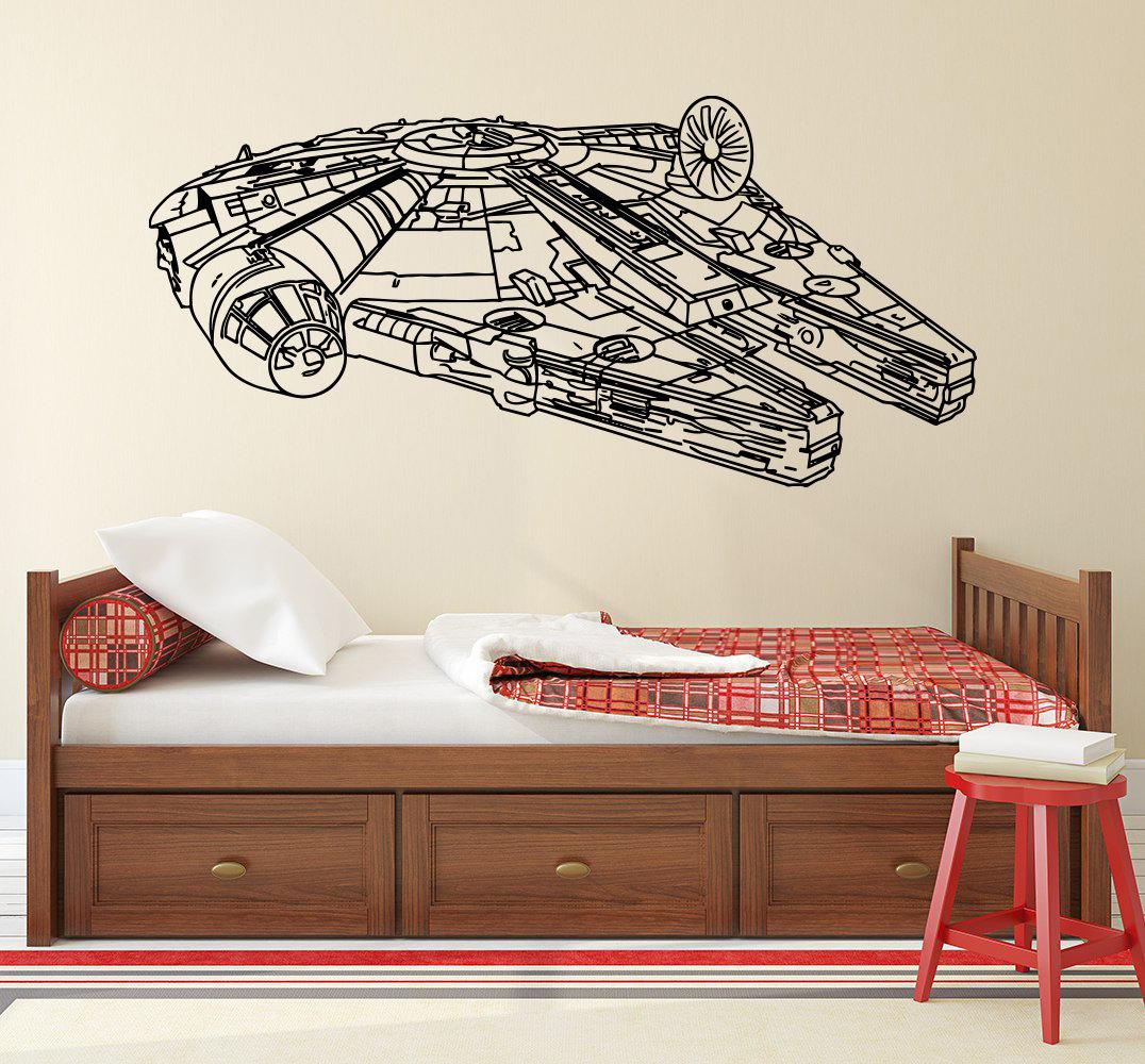 star wars wall decals millennium falcon vinyl sticker decal. Black Bedroom Furniture Sets. Home Design Ideas
