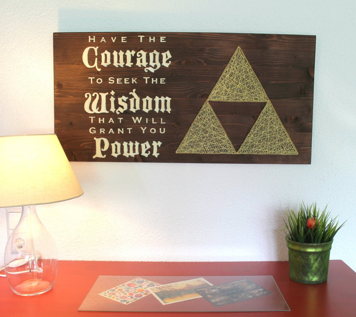 The legend of zelda triforce string art sign wall art decor for Decoration zelda